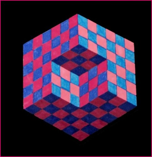 illusion,optique,cube